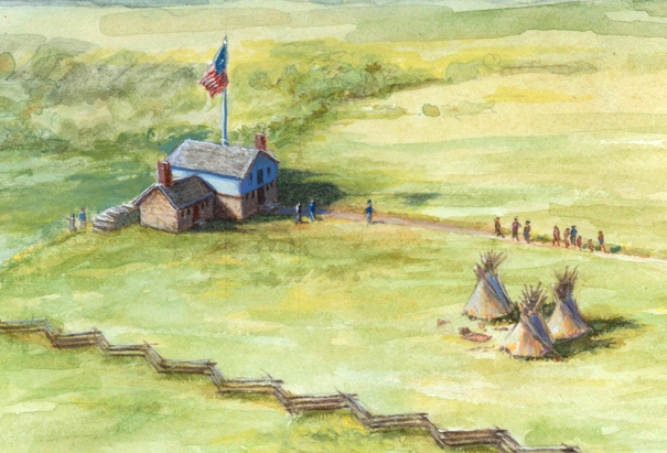 Indian Agency Council House, 1835-37.Painting by David Geister, 2012.Historic Fort Snelling collections: http://www.historicfortsnelling.org/history/american-indians/us-indian-agency
