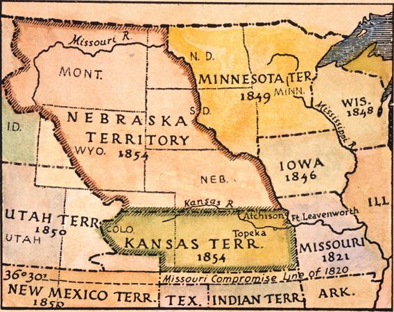 KANSAS-NEBRASKA MAP, 1854. The Kansas and Nebraska territories as they appeared in an 1854 American map.